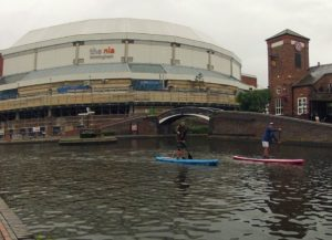 Paddleboarding past the Birmingham NIA