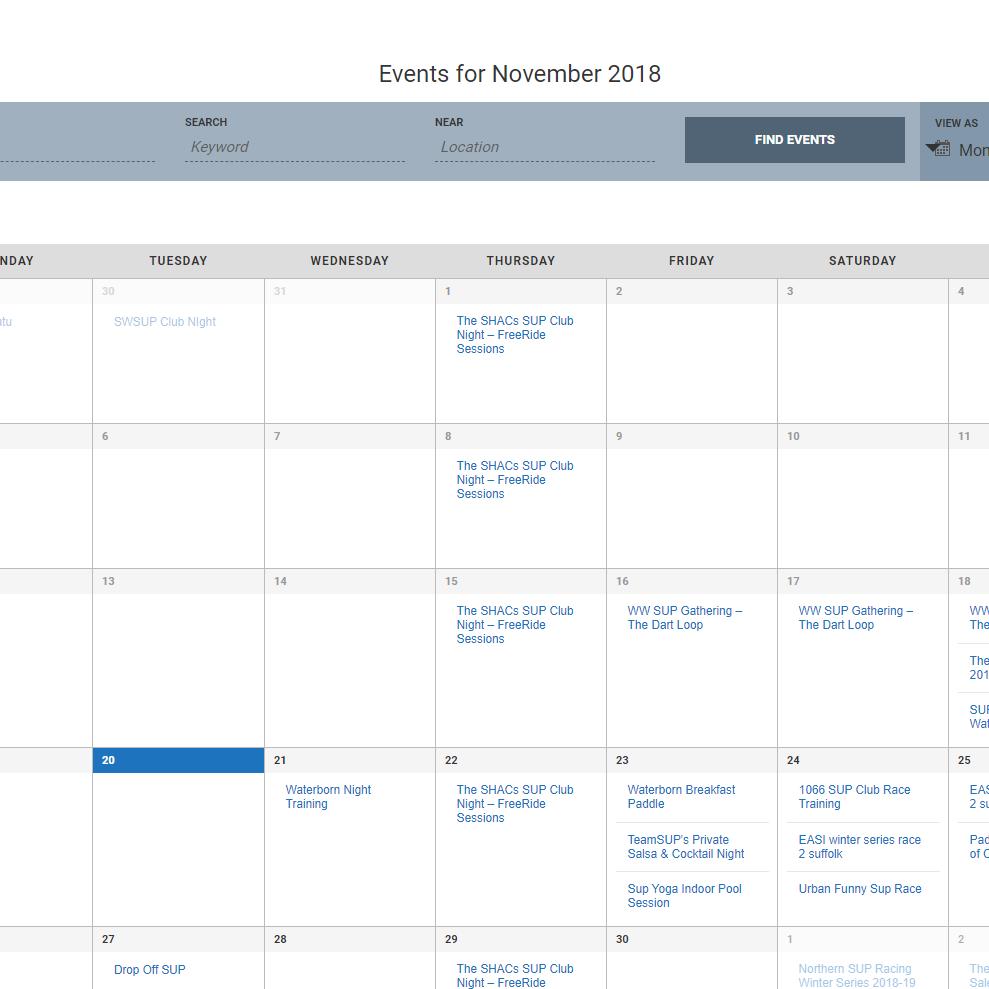 UK SUP calendar